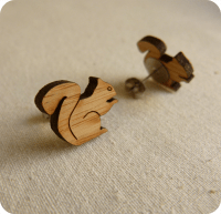 Squirrel earrings studs jewelry women eco friendly wood ...