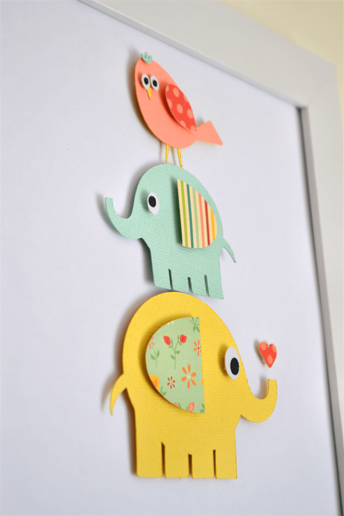 personalised d paper cut wall art elephants x inch white