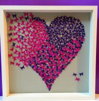 Butterflies Heart wall art -paper craft heart in 3d wooden ...