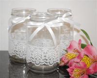 6 x Lace Ribbon Glass Jars Vases Vintage Rustic Chic ...