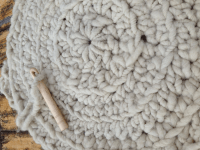 Wool & Alpaca Chunky Yarn Crochet Floor Rug - Cream ...