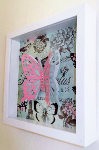 Butterfly 3D Paper Cut Wall Art, White Shadow Box, Pink ...