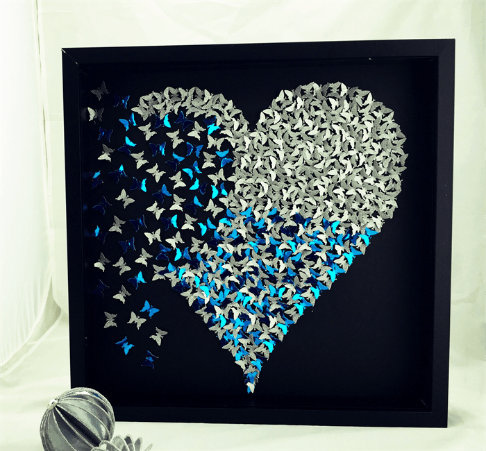 Butterfly Heart frame wall art. Sparkly silver heart in 3D