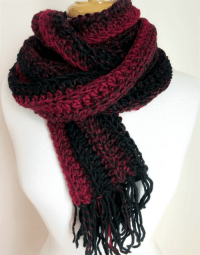 Red and Black Striped Hand Knitted Scarf Hand Crochet Long ...