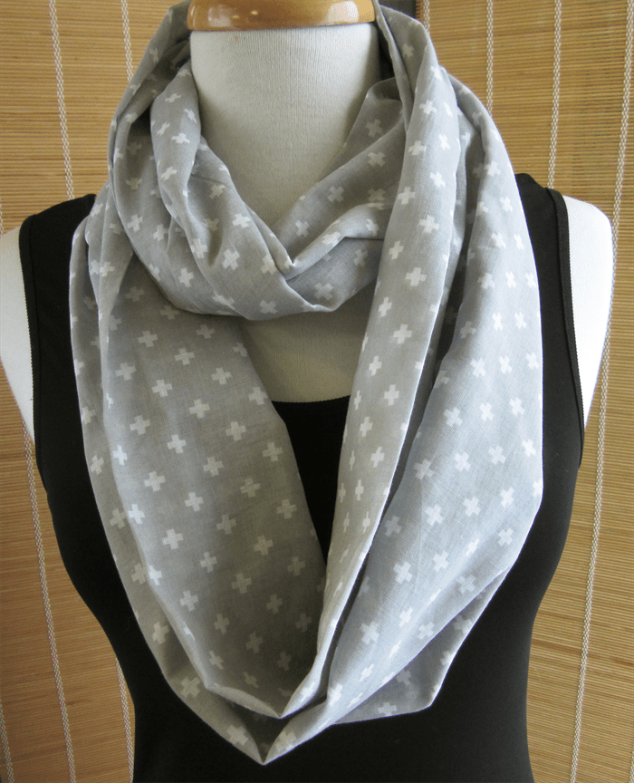 Grey and White Infinity Scarf Cotton Summer Scarves Modern