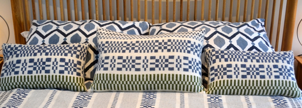 monksbelt cushions in natural white indigo and green large rectangle 40cm x 60cm