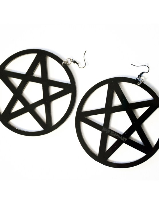 large pentagram hoop earrings