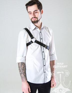 mens asymmetrical leather harness
