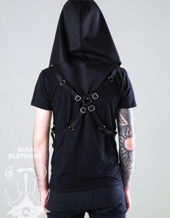 hooded black harness