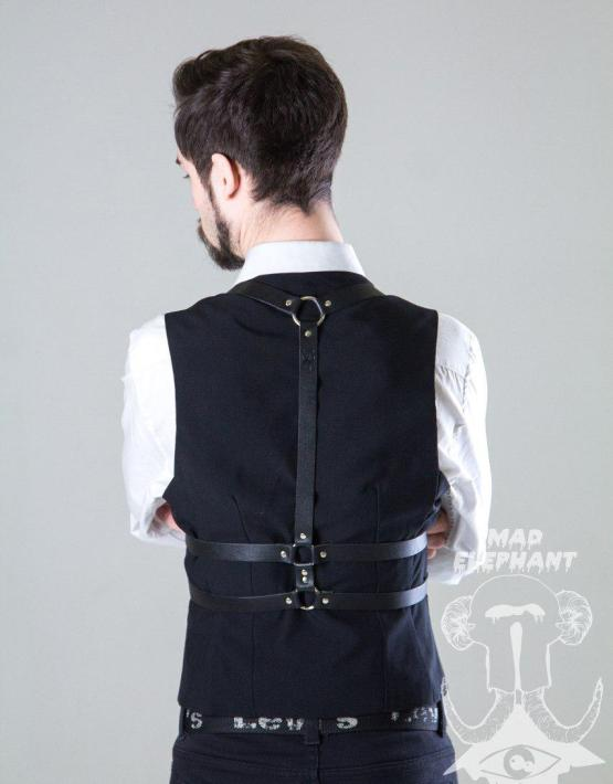 mens leather body harness black