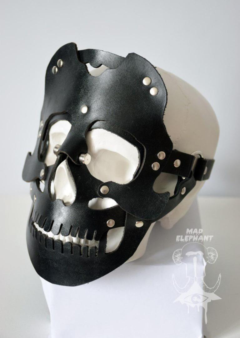 black leather skull mask