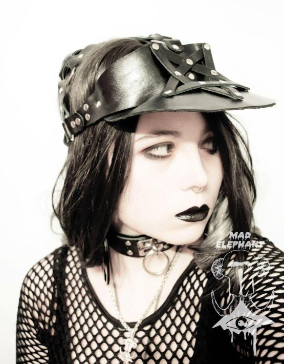 womens leather visor hat