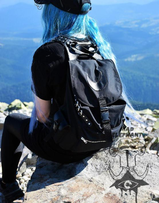 black nylon backpack women's