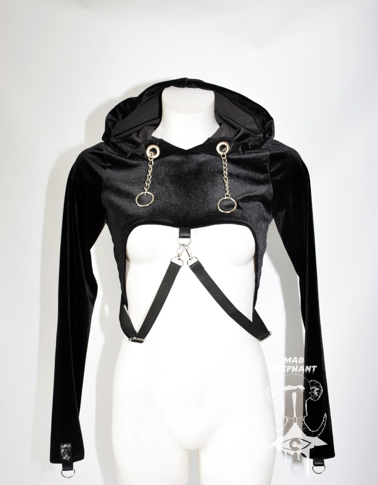 crop top hoodie with chains