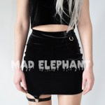 black velvet high waisted skirt