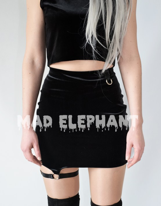 black velvet high waisted skirt