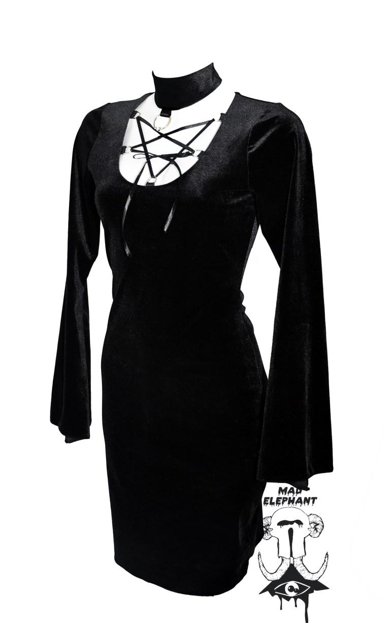 black velvet witch dress