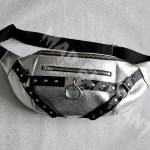 silver leather belt bag