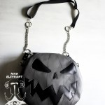 Gray pumpkin jack o lantern purse