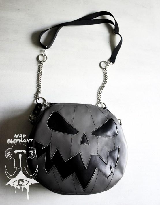 Gray pumpkin jack o lantern purse