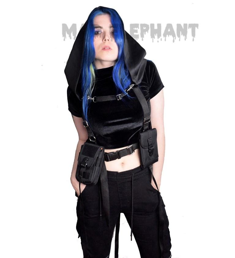 girl in techwear harness