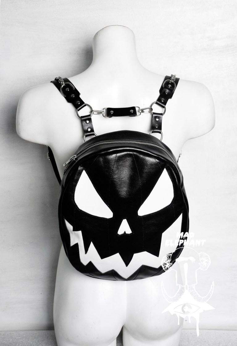halloween themed pumpkin backpack