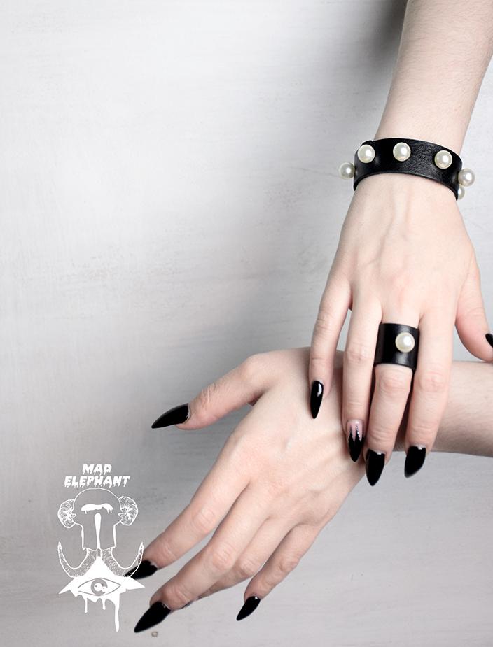 black leather pearl bracelet