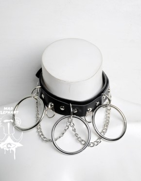 leather choker with chain