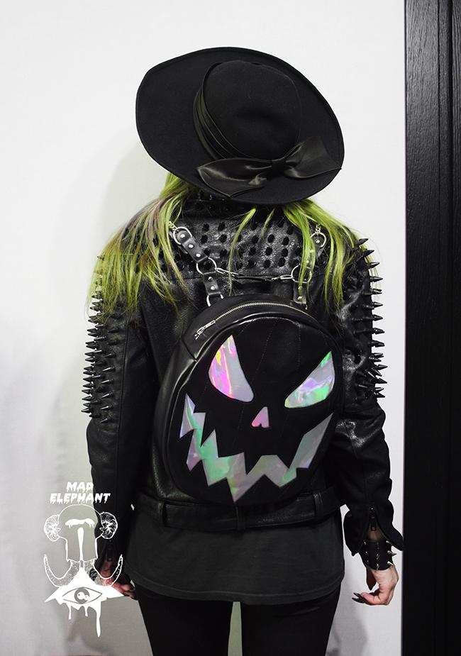 holographic pumpkin backpack black
