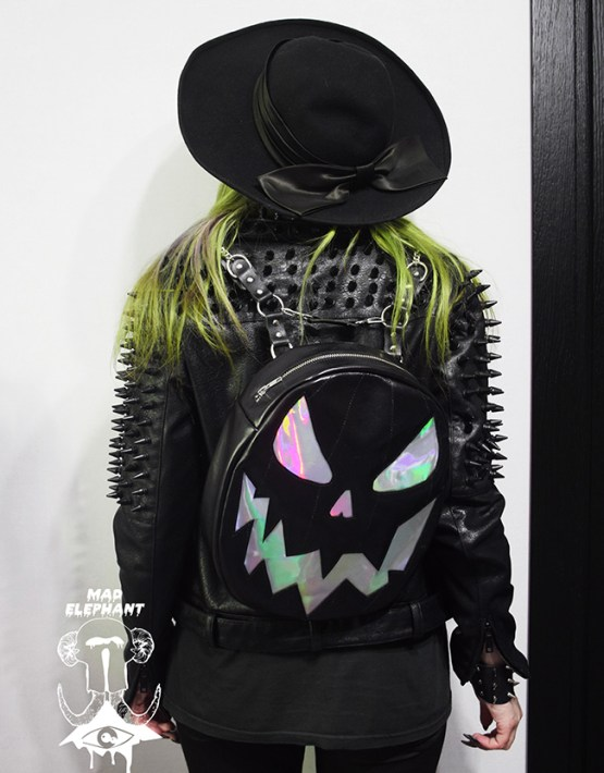 holographic pumpkin backpack black