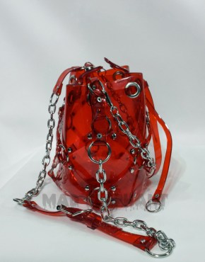 caged red pvc vinyl bag shoulder crossbody vegan bag
