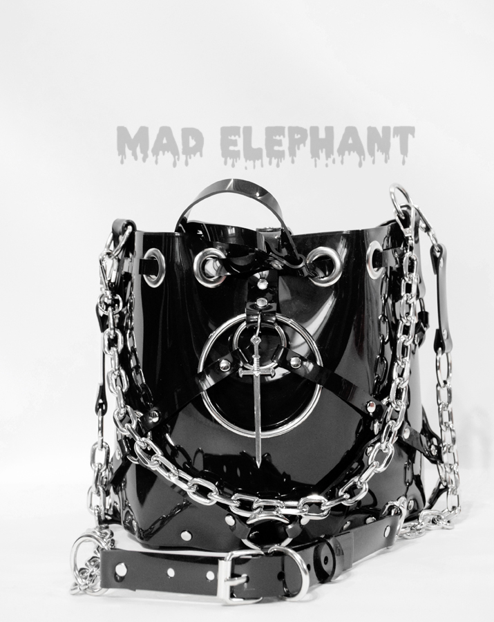 gothic dark fashion bag pvc vinyl purse with chains