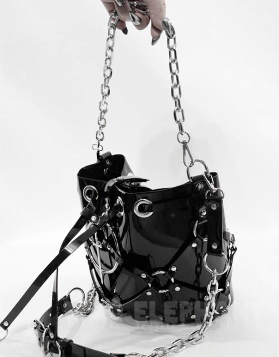 black pvc vinyl bag with chain handle by handmade brand