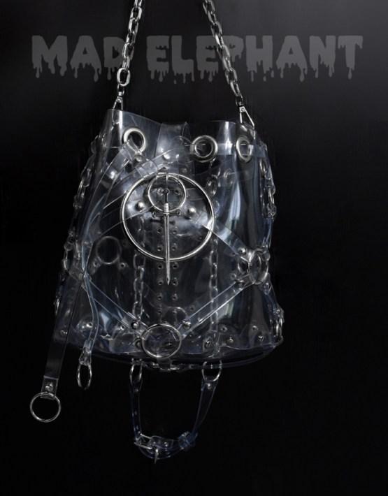 black transparent pvc vinyl bag with chain handle handmade gift