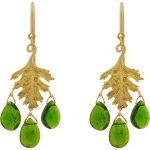 Cathy Waterman Chrome Diopside & Gold Leaf Earrings