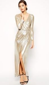 party dresses ASOS PETITE Sexy Wrap Maxi in Silver Metallic