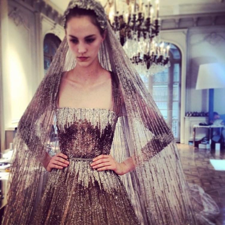 Bride elie saab haute couture wedding dress