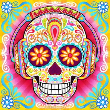 sugar-skull-wearing-headphones-by-thaneeya