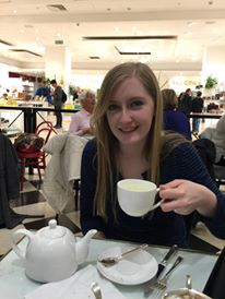 Mady enjoying her afternoon tea at Dolly's
