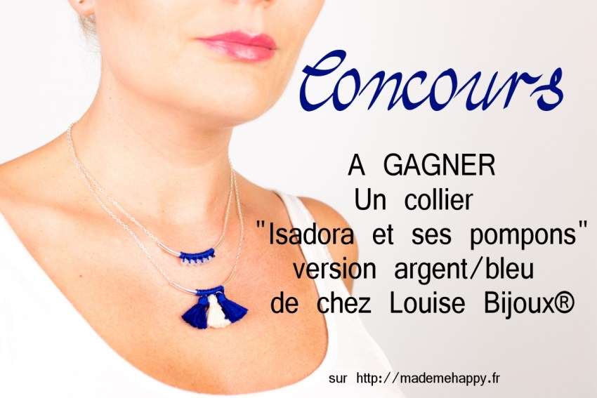 """Concours - Gagnez un collier """"Isadora et ses pompons"""" version argent/bleu de chez Louise Bijoux."""