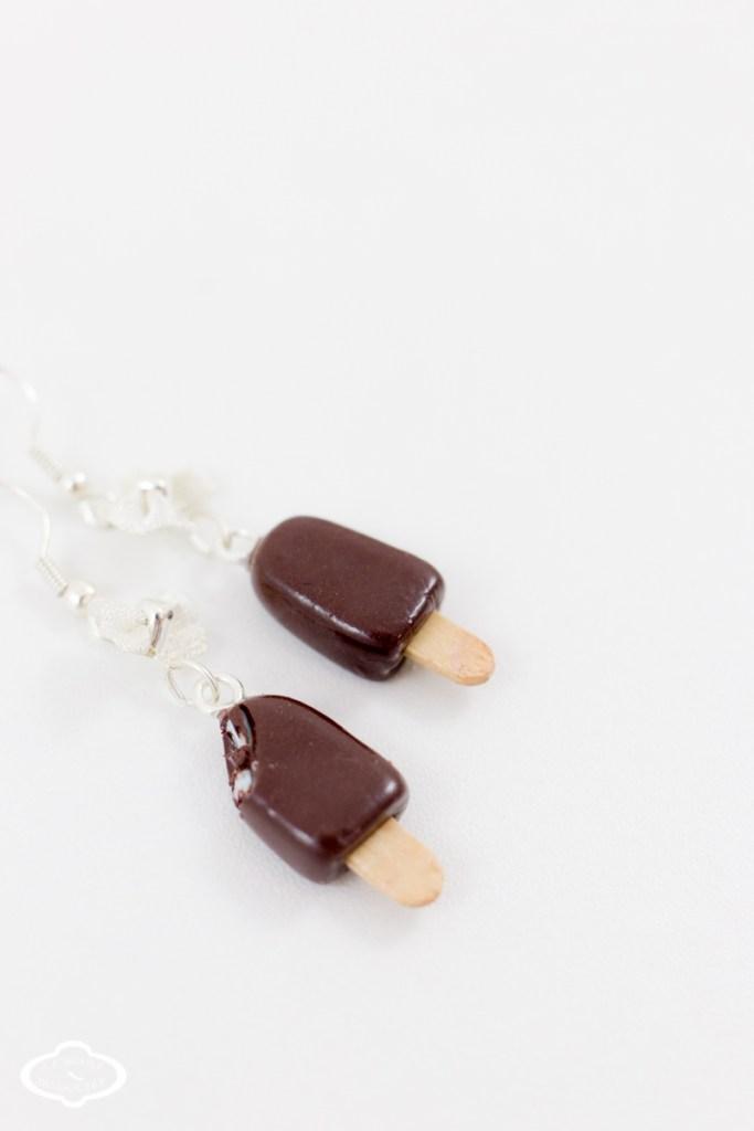 Bijoux gourmands fimo - Boucles d'oreilles glace esquimau menthe-6