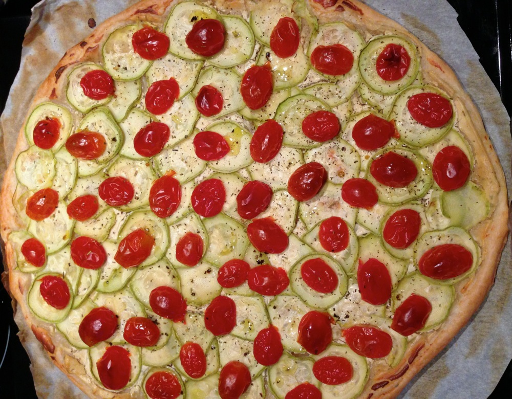 Tarte tomates cerises courgettes 1