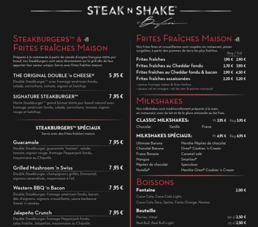 Carte Steak'n Shake