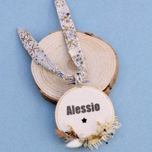 Cadre tambour fleuri personnalisé prénom