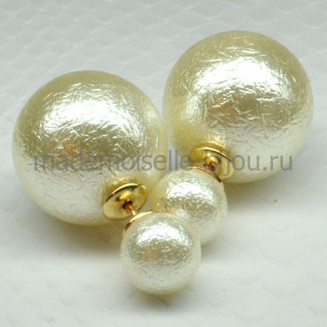 Двойные сережки шарики Fashion La Vanila Venice