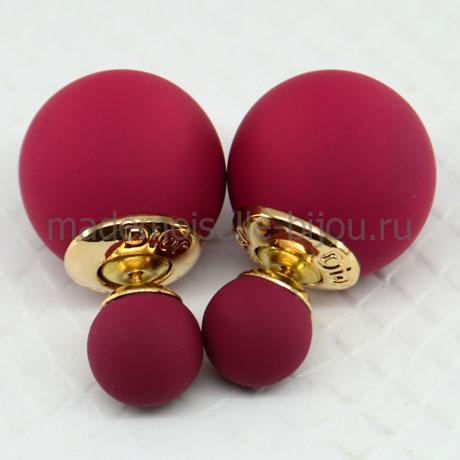 Серьги два шарика бордовые матовые Fashion Burgundy Silk