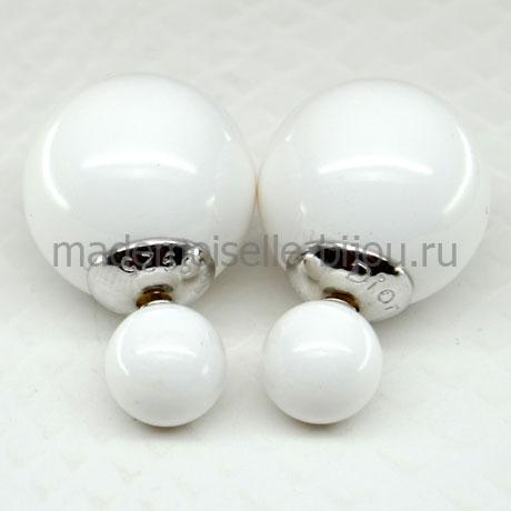 Серьги шарики серебро Premium Ivory Lux 925