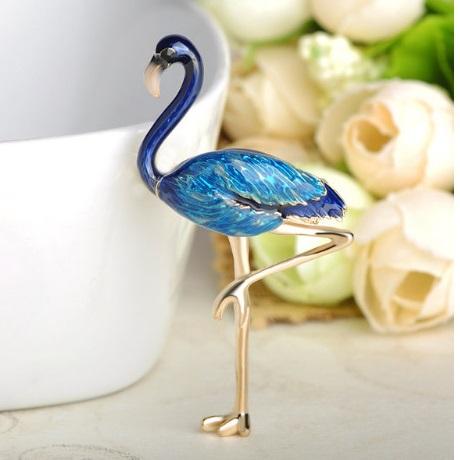 Брошь фламинго синий Flamingo Blue