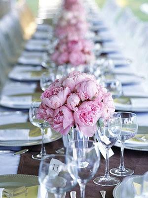 Tischdeko Rosa Pfingstrose Hochzeit