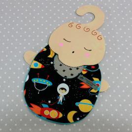 Bavoir bébé 0/8 mois thème espace/ space handmade baby bib